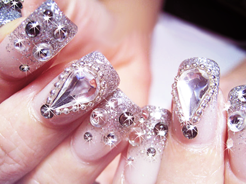 Nail designs with diamonds on one finger : Gallery for gt nail design with diamonds