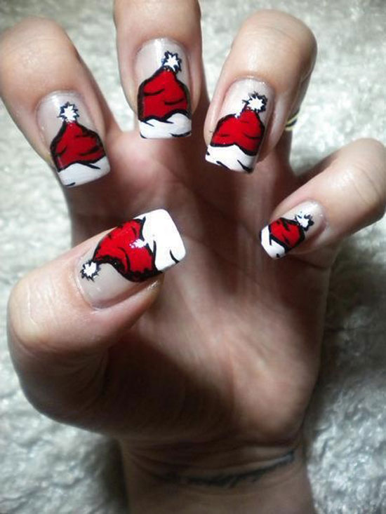 Santa's cap nail art looks very nice and can be done just right with a  little practice. Paint the edge of your nails in opaque White colour. - 16 Gorgeous And Easy Nail Art Ideas For Christmas - Christmas