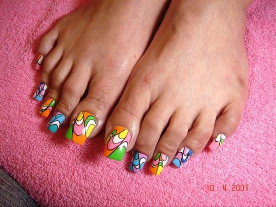 Nail Polish Designs Toes Pink Blue Toenail