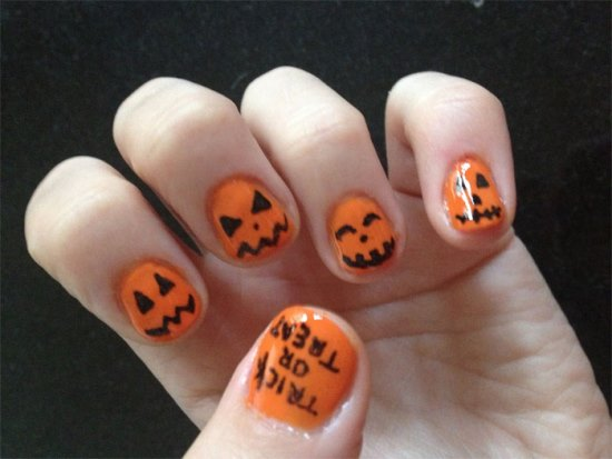 Pumpkin Nail Art Designs