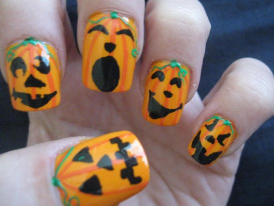 Halloween Pumpkin Nail Art Designs | Nail Design Ideaz