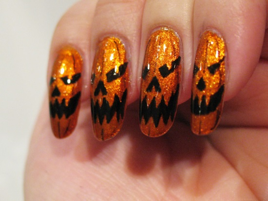 Halloween Pumpkin Nail Art Designs Nail Design Ideaz