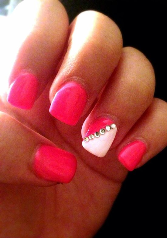 hot pink nails with diamonds - photo #17