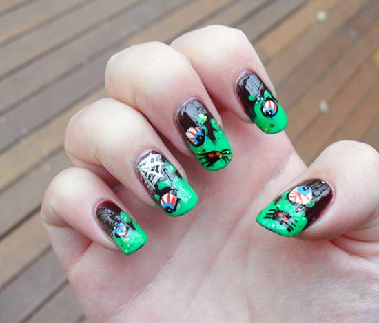 40 scary 3d halloween nail art designs nail design ideaz 3d halloween nail art designs prinsesfo Images