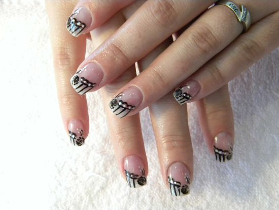 Black striped Christmas nails