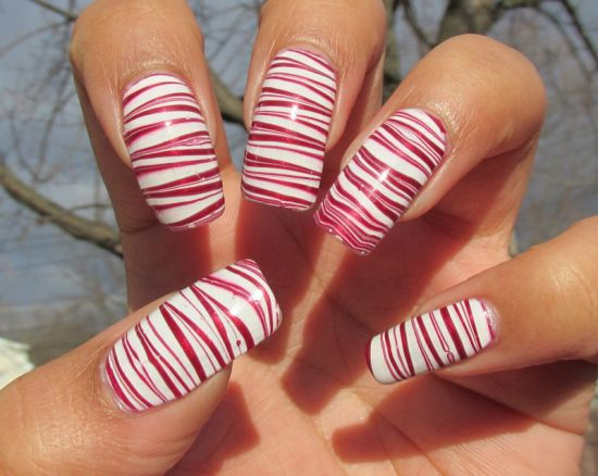 Eclectic shining striped nail art