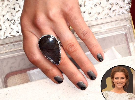 Edgy grey with black triangular celebrity nail art
