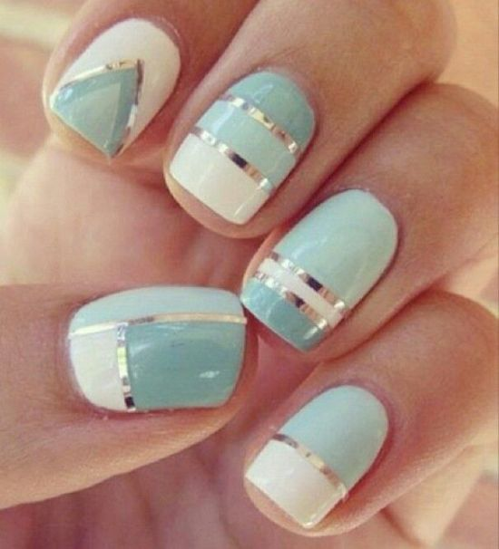 Light blue and white striped nail art - 35 Creative Striped Nail Designs Nail Design Ideaz