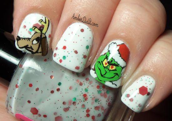 Mr Grinch Christmas nails