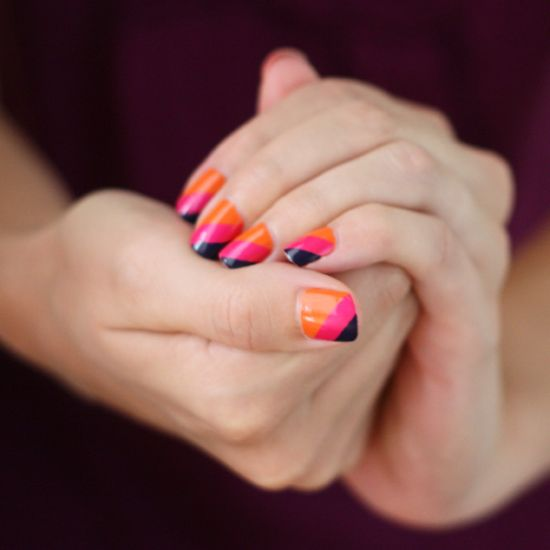 Orange and pink striped nails