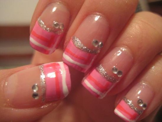 Pink and silver horizontal striped nails