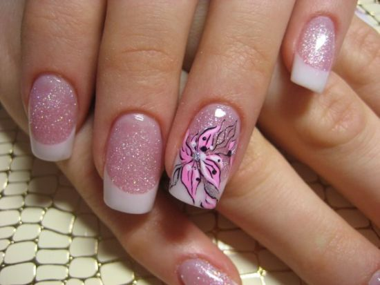 Pink floral Christmas nails