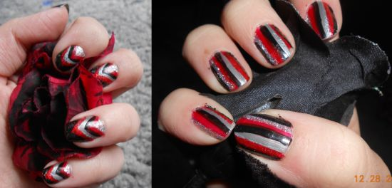 Red Black And Silver Striped Nails