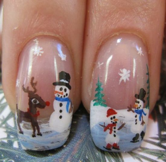 Reindeer Christmas manicure ideas