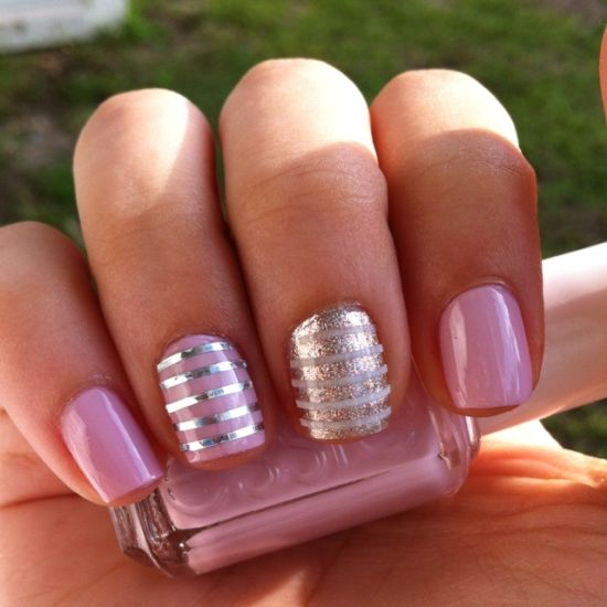 Striped nail art - 35 Creative Striped Nail Designs Nail Design Ideaz