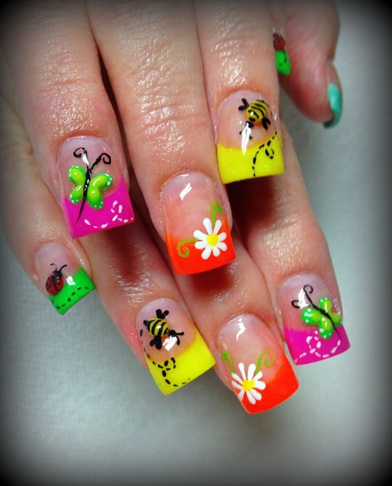 40 trendy neon nail art designs nail design ideaz neon nail art prinsesfo Choice Image
