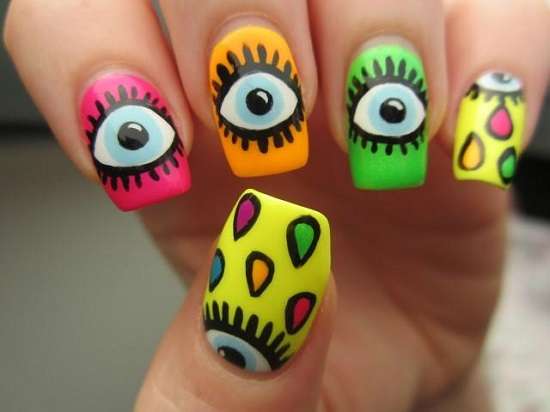 40 trendy neon nail art designs nail design ideaz neon nail designs prinsesfo Choice Image