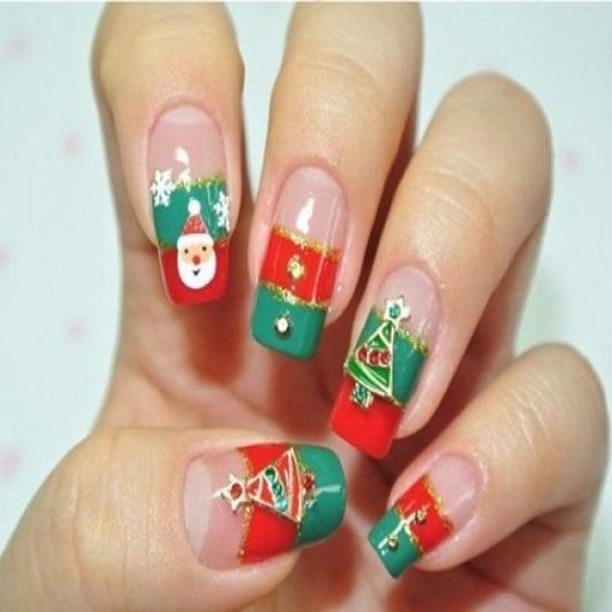 35 santa claus nail art designs nail design ideaz santa nails prinsesfo Choice Image