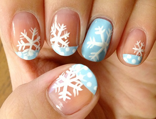 33 amazing snowflake nail arts nail design ideaz snowflake nails prinsesfo Image collections