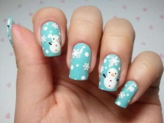 33 amazing snowflake nail arts nail design ideaz christmas nail designs prinsesfo Image collections