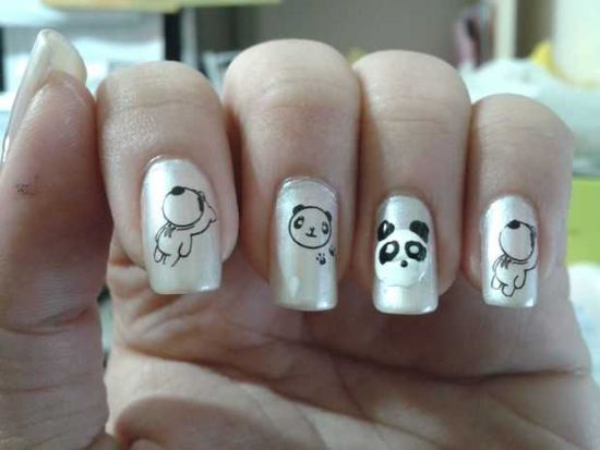 40 cute panda nail art designs for winter nail design ideaz panda nails prinsesfo Images