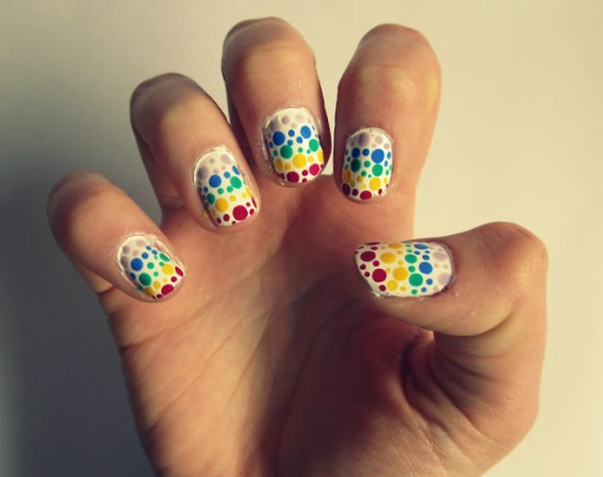 Rainbow polka dot design