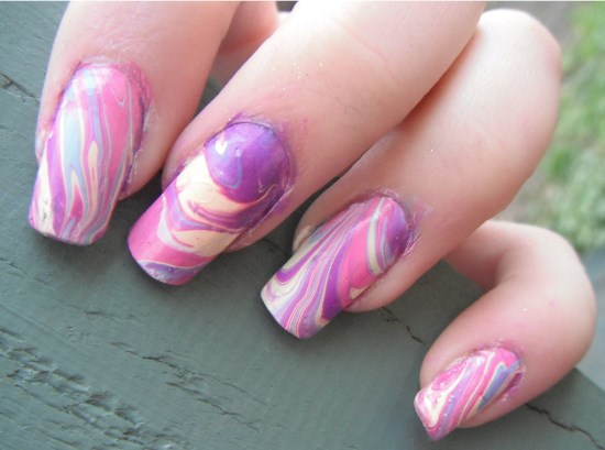 40 creative water marble nail art designs nail design ideaz marble nail art prinsesfo Image collections