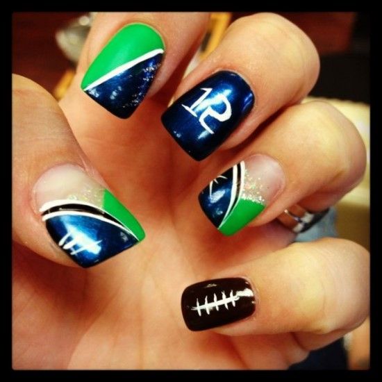 Football Nails - Top 40 Football Nail Art Designs Nail Design Ideaz