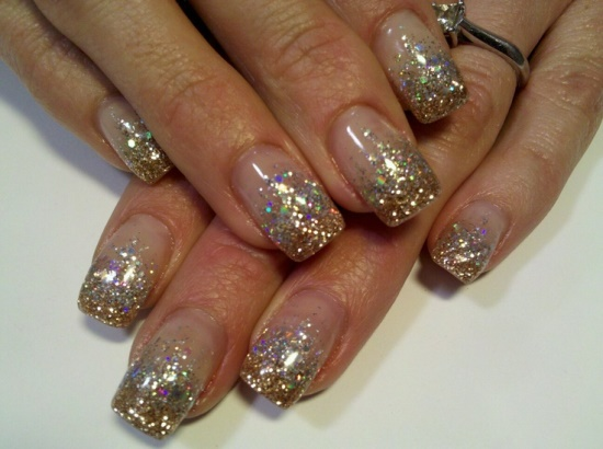 Glitter Nails Designs - 40 Beautiful Gold Glitter Nails Designs Nail Design Ideaz