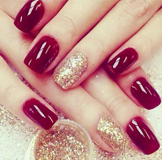 Glitter Nail Art - 40 Beautiful Gold Glitter Nails Designs Nail Design Ideaz