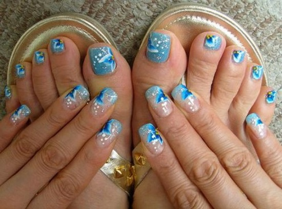 35 winter toe nail art designs nail design ideaz. Black Bedroom Furniture Sets. Home Design Ideas