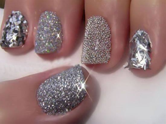 40 pretty silver nail art designs nail design ideaz silver nail art prinsesfo Image collections