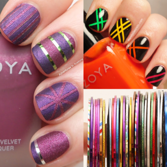 40 killer striping tape nail art designs nail design ideaz striping tape nail art prinsesfo Images