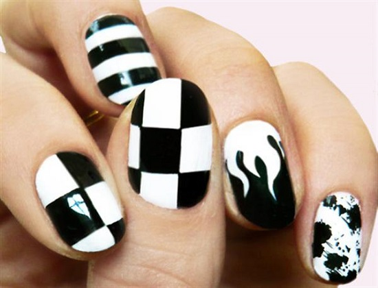 40 black and white nail art designs nail design ideaz black white nail designs prinsesfo Choice Image