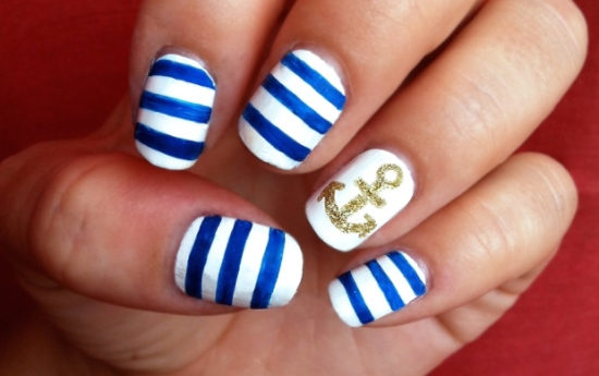 50 rocking anchor nail art designs nail design ideaz anchor nail art prinsesfo Gallery