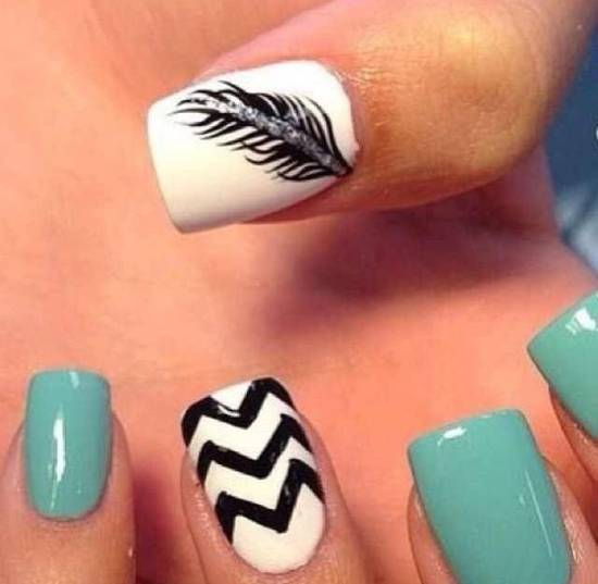 Feather Nail Art - 20 Stylish Feather Nail Art Tutorials Nail Design Ideaz