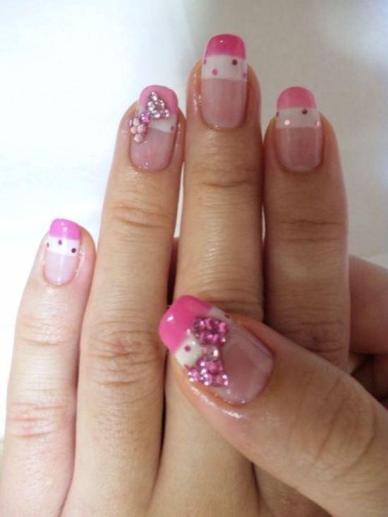nail art with diamonds and bows wwwpixsharkcom