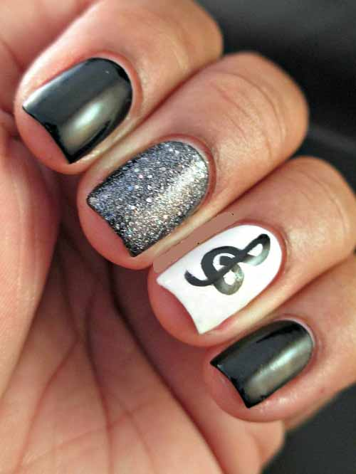Music Note Nails - 21 Cute Music Notes Nail Art Tutorial Nail Design Ideaz
