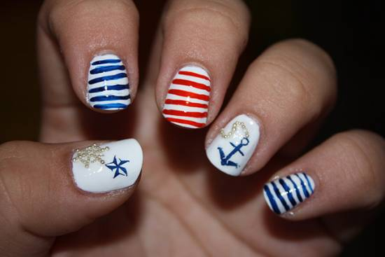 18 creative anchor nail art tutorials nail design ideaz anchor nail art prinsesfo Gallery