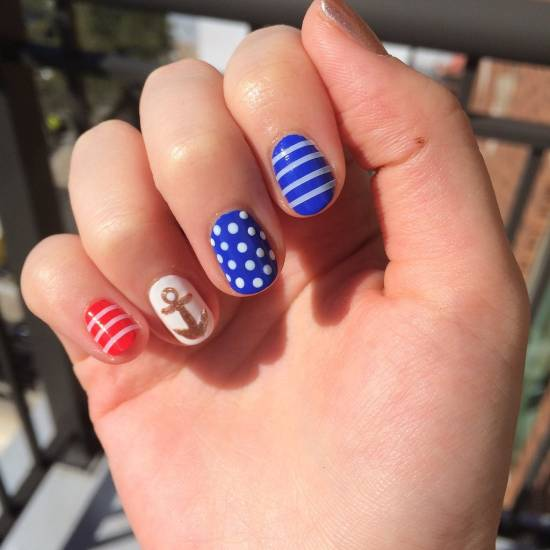 18 creative anchor nail art tutorials nail design ideaz anchor nail art prinsesfo Choice Image