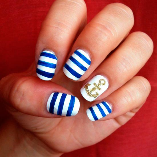 18 creative anchor nail art tutorials nail design ideaz anchor nails prinsesfo Choice Image
