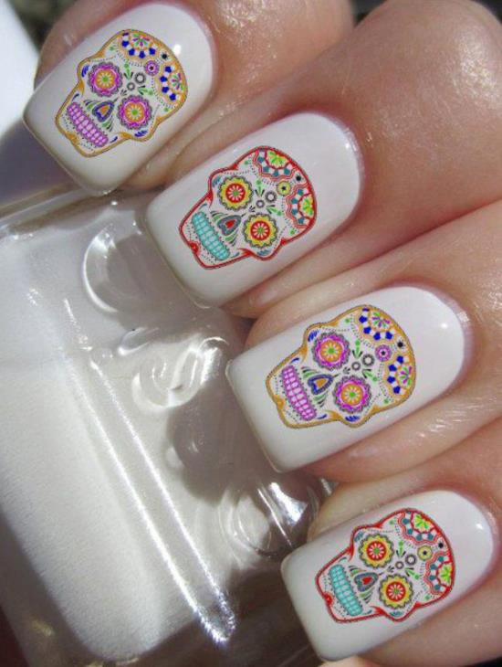 Skull Nail Art Ideas - 50 Rocking Skull Nail Art Designs Nail Design Ideaz