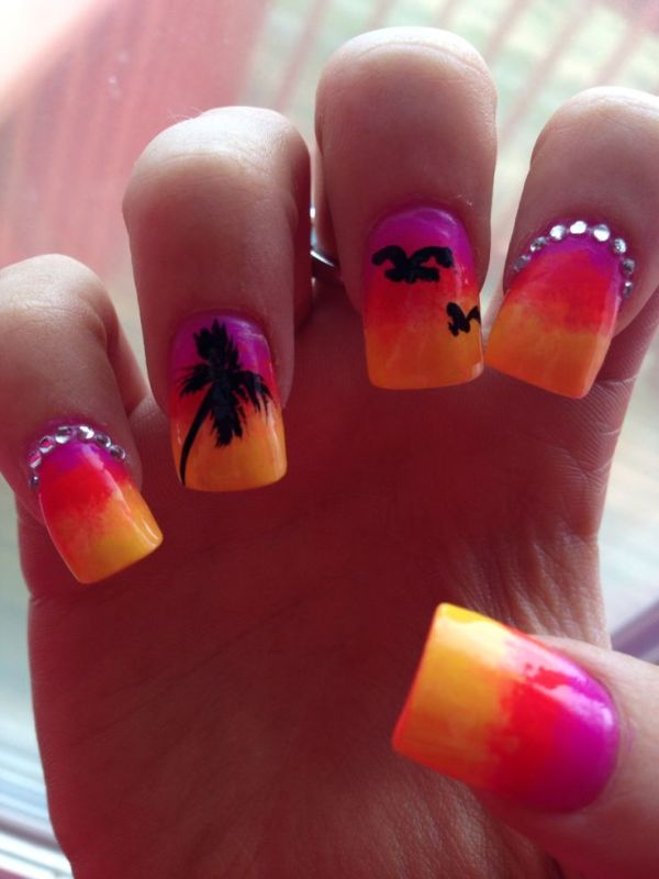 Summer Tropical Nail Art with Palm Tree and Birds - 18 Tropical Nail Art Tutorials For Summer Nail Design Ideaz