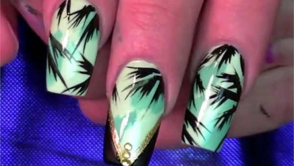 Summer Tropical Teal Nail Art