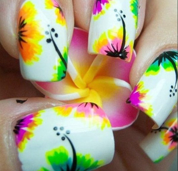 Tropical Floral Nail Art