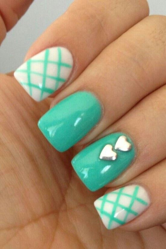 Mint Nail Art Ideas - 45 Cute Mint Nail Art Ideas For Summer Nail Design Ideaz