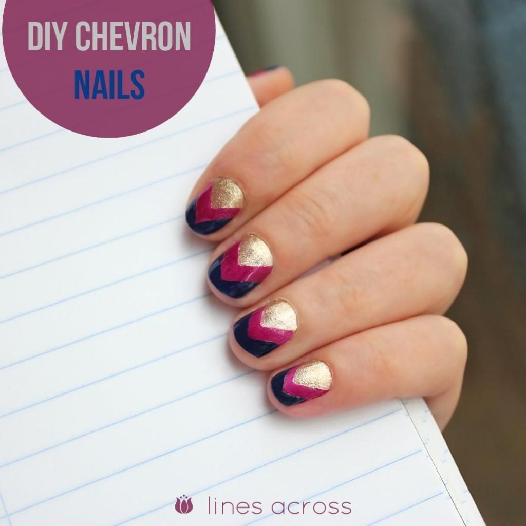Sassy Three-Colored Chevron Nails
