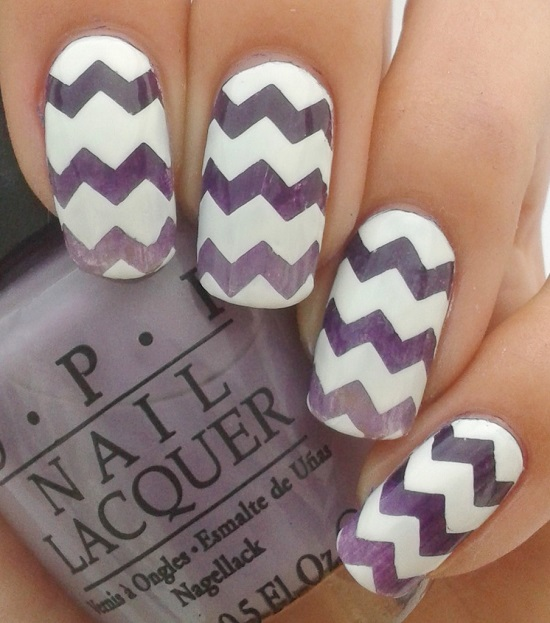 The White Purple Chevron Nails
