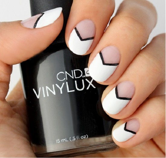 Trendy Sheer Pink Chevron Nails