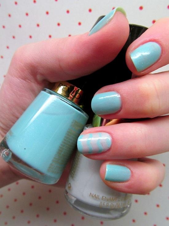 Blue Heaven Chevron Nails